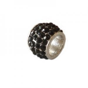 Barrel with rhinestones 15x11mm, 8mm hole, silver colour